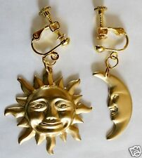 SUN AND MOON LARGE GOLD TONE EARRINGS WITH SCREW FITTINGS  FOR NON PIERCED EARS