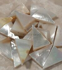 Vintage Mother of Pearl White Shell Beads Triangle Drilled 20 x 15 MM (6 Beads)