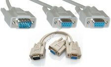 10pk  RS232 Serial DB9 pin 1*MALE~2*FEMALES Y/T Splitter Adapter Cable/Cord/Wire