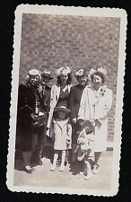 Antique Photograph Group of Adults & Children Wearing Cool Oldtime Outfits