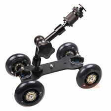 "DSLR Truck Skater Wheel Table Top Compact Dolly Slider+7"" Articulate Magic Arm"
