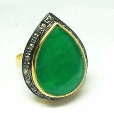 Victorian 0.68 Ct Rose Cut Diamond Emerald 925% Sterling Silver Engagement  Ring