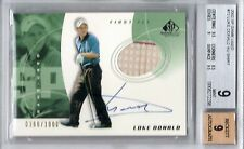 2002 LUKE DONALD SP GAME USED AUTOGRAPH AUTO GOLF SHIRT RC BGS 9 366/1000
