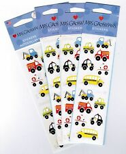 Mrs Grossman's Chubby Work Vehicles Scrapbook Stickers! 4 NEW packs 12 Strips!