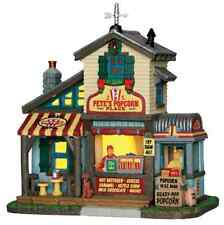 New Lemax Village Lighted Pete's Popcorn Shop Accessory Figurine Set christmas