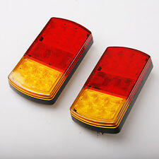 Pair 12V LED Rear Tail Light Universal Stop Brake Taillight For Car Van Trailer
