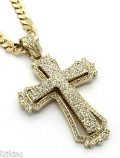 "Mens Large Hollow Cross Gold Iced Out Pendant 30"" Inch Necklace Cuban Chain G09"
