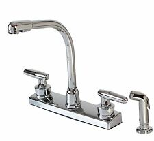 Hardware House 12-1927 Chrome TWO-HANDLE high-rise KITCHEN FAUCET W/SPRAY NEW