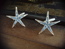 Light Sapphire Blue Crystal Star Cuff links Made with Swarovski Elements