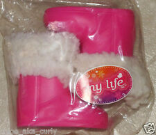 "American My Life Clothes PINK Faux Fur Snow Boots Shoes 18"" Doll Girl NEW"