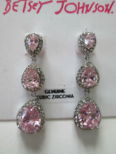 NWT Auth Betsey Johnson Pink Rhinestone Teardrop Linear Dangle Drop Earrings