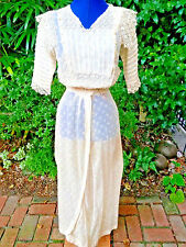 Edwardian Victorian original beige cream lace crochet wedding lingerie dress xs