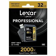 LEXAR 32gb 2000x Professionale SDHC UHS-II [u3] CLASSE 10 Scheda & UHS-II LETTORE USB