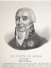 RARE LITHO PORTRAIT COMTE DE SEGUR ACADÉMIE FRANCE PAIR RESTAURATION ROEHN 1828