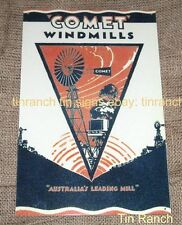 vintage COMET WINDMILL TIN SIGN Australian farm agriculture Country antique NEW