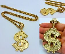 14K GOLD FILLED 4mm STAINLESS STEEL FRANCO CHAIN W/ DOLLAR SIGN PENDANT NECKLACE
