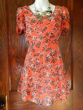 PINS & NEEDLES orange flower BABYDOLL MINI DRESS Anthropologie Urban Outfitters