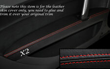 RED STITCH 2X FRONT DOOR ARMREST LEATHER SKIN COVERS FITS AUDI TT MK2 06-14