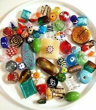 Gorgeous Fancy Mixed Bead Lot   Vintage, Glass, Murano, Lampwork, Bumpy, Foiled