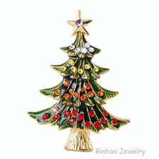 hot Stunning Unique Crystal Multicolour Rhinestone Xmas Brooch Pins Party Gifts