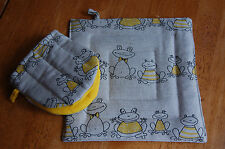 linen/cotton pot holder and mini oven mitten set