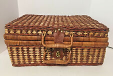 Vintage Grey Goose Wicker Suitcase Style Tailgating Picnic Basket