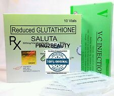 SALUTA 600MG GLUTATHIONE INJECTION + FREE 10 VIALS X 500MG VIT C.PING2BEAUTY