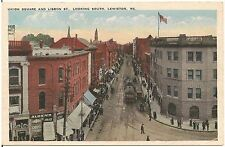 Union Square and Lisbon Street Looking South in Lewiston ME Postcard