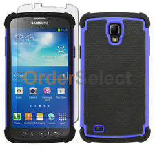 Hybrid Rugged Rubber Case+Screen Guard for Samsung Galaxy S4 S 4 GS4 Active Blue