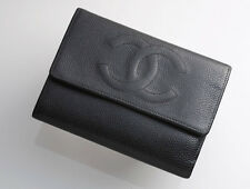 G7197M Authentic CHANEL Caviar Skin Genuine Leather Trifold Wallet