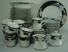 MIKASA china CHARISMA BLACK pattern 65-pc SET SERVICE for 12 Including Serving