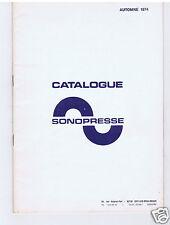 CATALOGUE DISQUES SONOPRESSE AUTOMNE 1974