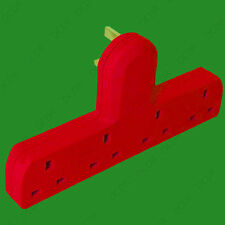 1x Red 13A Cable Free 4 Gang 3 Pin UK Mains Outlet Extension Socket
