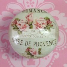 FRENCH SCRIPT PINK ROSES Ceramic Knob Flowers Cabinet Drawer Pull Office Desk