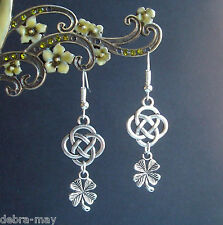 Lucky Four Leafed Clover Shamrock Celtic Knot Dangly Earrings