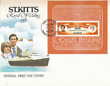 St KITTS 14 DECEMBER 1981 ROYAL WEDDING $5 MINIATURE SHEET O/S FIRST DAY COVER