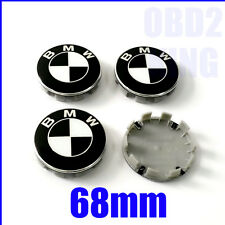 4 PCS BMW BLACK WHITE 68mm Wheel Center Cover Emblem Sign Logo Hub Cap Set