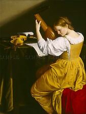 ORAZIO GENTILESCHI ITALIAN LUTE PLAYER OLD ART PAINTING POSTER PRINT BB6213A