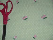 Embroidered pink roses on green dotted swiss sewing fabric white dots BTHY