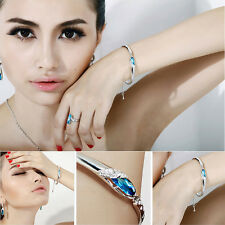 New Fashion Women Lady Silver Plated Crystal Bangle Charm Cuff Bracelet Jewelry