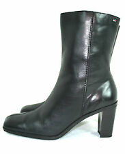 "TOMMY HILFILGER BLACK GENUINE LEATHER WOMEN BOOTS SIZE 10 M 3"" HIGH HEELS"