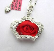 Betsey Johnson crystal Crown beautiful Red silk Roses Pendant Necklace#264L