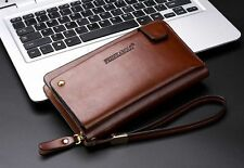 Men Brown Leather Wallet Designer Zipper Clutch Bag Organizer