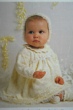 Baby's Dress, Bonnet and Bootees Knitting Pattern