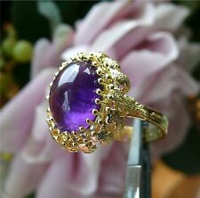 18k Yellow Gold Ring w/ Large Domed Cabochon Amethyst, Size 8