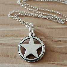 Texas Star Necklace - 925 Sterling Silver - America State Cowboy Wild West NEW