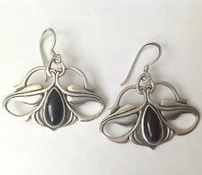 Vintage Repousse Art Nouveau Style Sterling Earrings, Black Onyx,  Konder #791