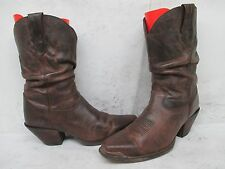 Durango Distressed Brown Leather Square Toe Cowboy Boots Size 9 M Style RD3494