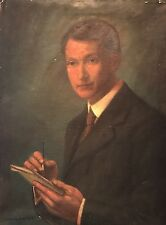 Fine 1900s Large Signed Portrait Man Sketching with Pad - Oil Painting on Canvas