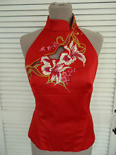 KAREN MILLEN VERY RARE RED SILK SATIN ORIENTAL EMBROIDERED HALTER NECK TOP 8